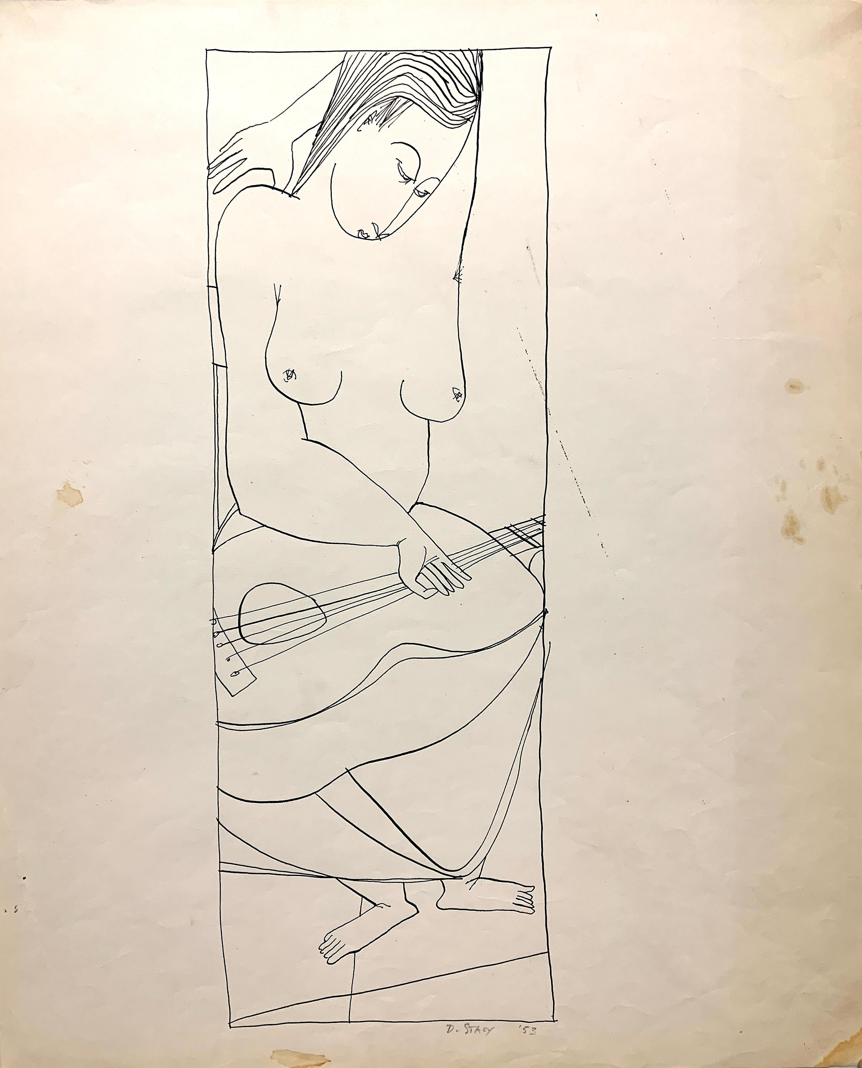 """""""Musician"""" 1950s Ink Line Drawing NYC Artist Students League"""
