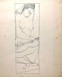 """Musician"" 1950s Ink Line Drawing NYC Artist Students League"
