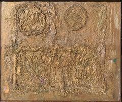 "Mid Century ""Bronze Wall"" Brutalist Painting Brooklyn Museum Artist"