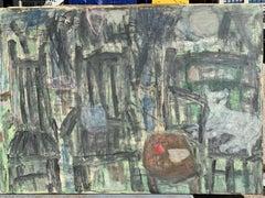 "Mid Century Abstract Painting ""Cat"" NYC Artist Sylvia Rutkoff"