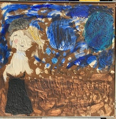 "1950s ""Girl With Beret"" Art Brut Impasto Oil Painting Nyc Artist"