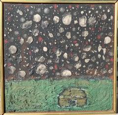 "American Art Brut Mid Century Impasto Landscape Painting ""Summer Night"""