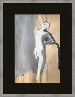 Mid Century Gouache and Charcoal Female Nude Painting Bay Area Figurative