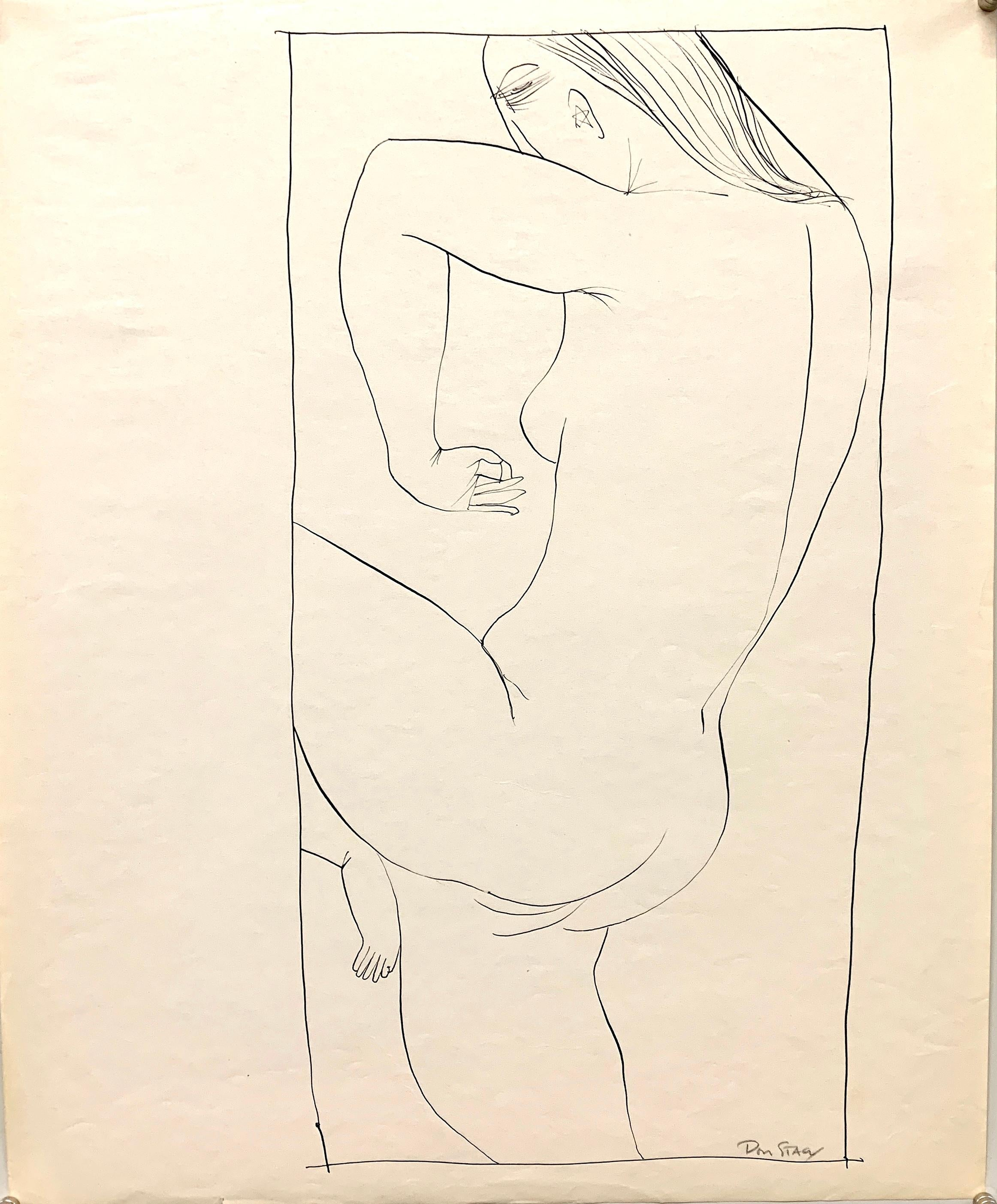 """""""Star Ear"""" 1950s Ink Female Nude Line Drawing NYC Artist Students League"""