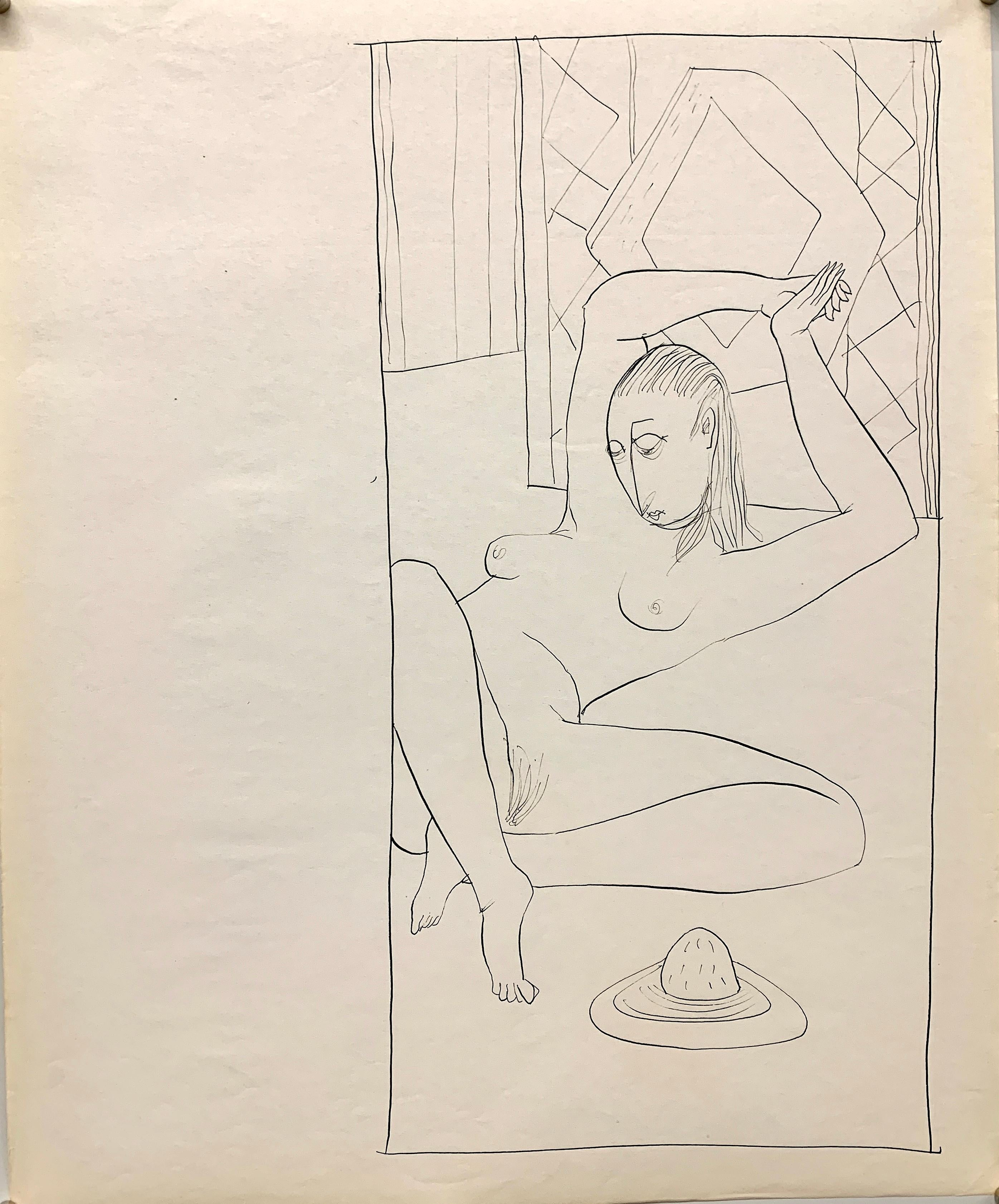 """""""Tied Up"""" 1950s Ink Line Drawing NYC Artist Students League"""