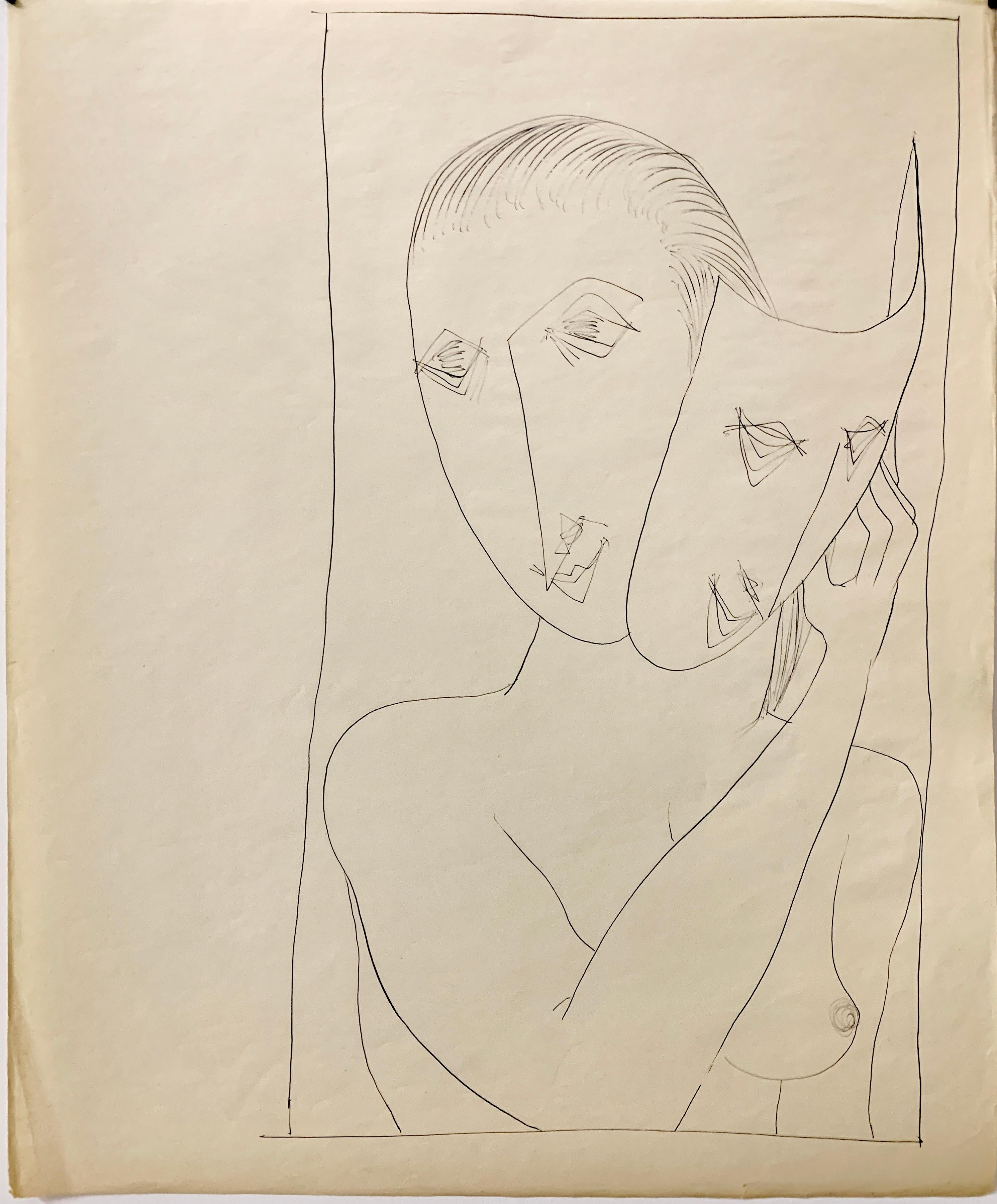 """""""Mask"""" 1950s Ink Mid Century  Nude Line Drawing NYC Artist Students League"""