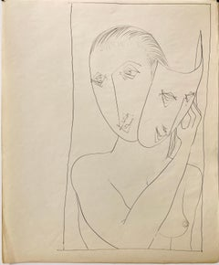 """Mask"" 1950s Ink Mid Century  Nude Line Drawing NYC Artist Students League"