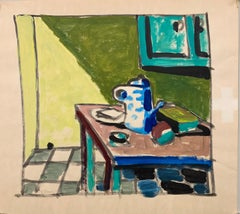 "1950s ""Mouse Hole Kitchen Still Life"" Mid Century Painting University of Paris"