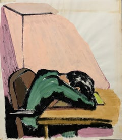 "1950s ""Head On Desk"" Mid Century Painting University of Paris"
