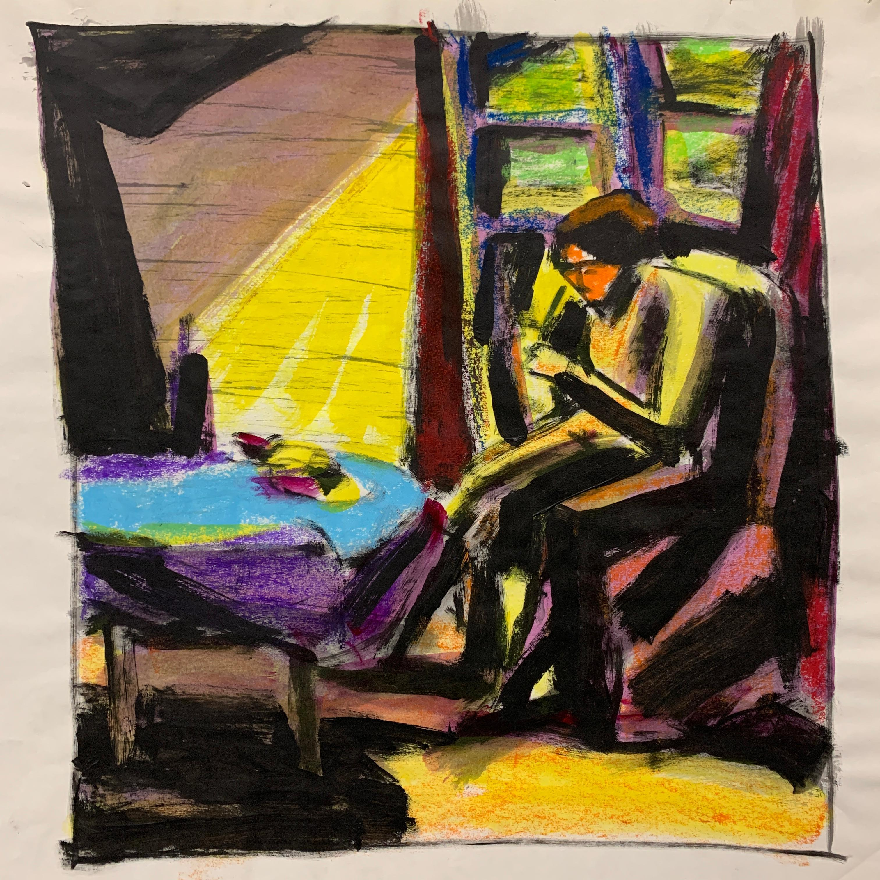 """""""At the Table"""" Gouache Interior Painting Mid Century The Art Students League"""