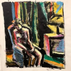 """Sitting In Chair"" Gouache Interior  Mid Century  1950s Fauvist Painting"