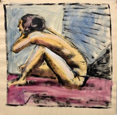 """Pink Floor"" Gouache Female Nude Mid Century  1950s Modern Painting"