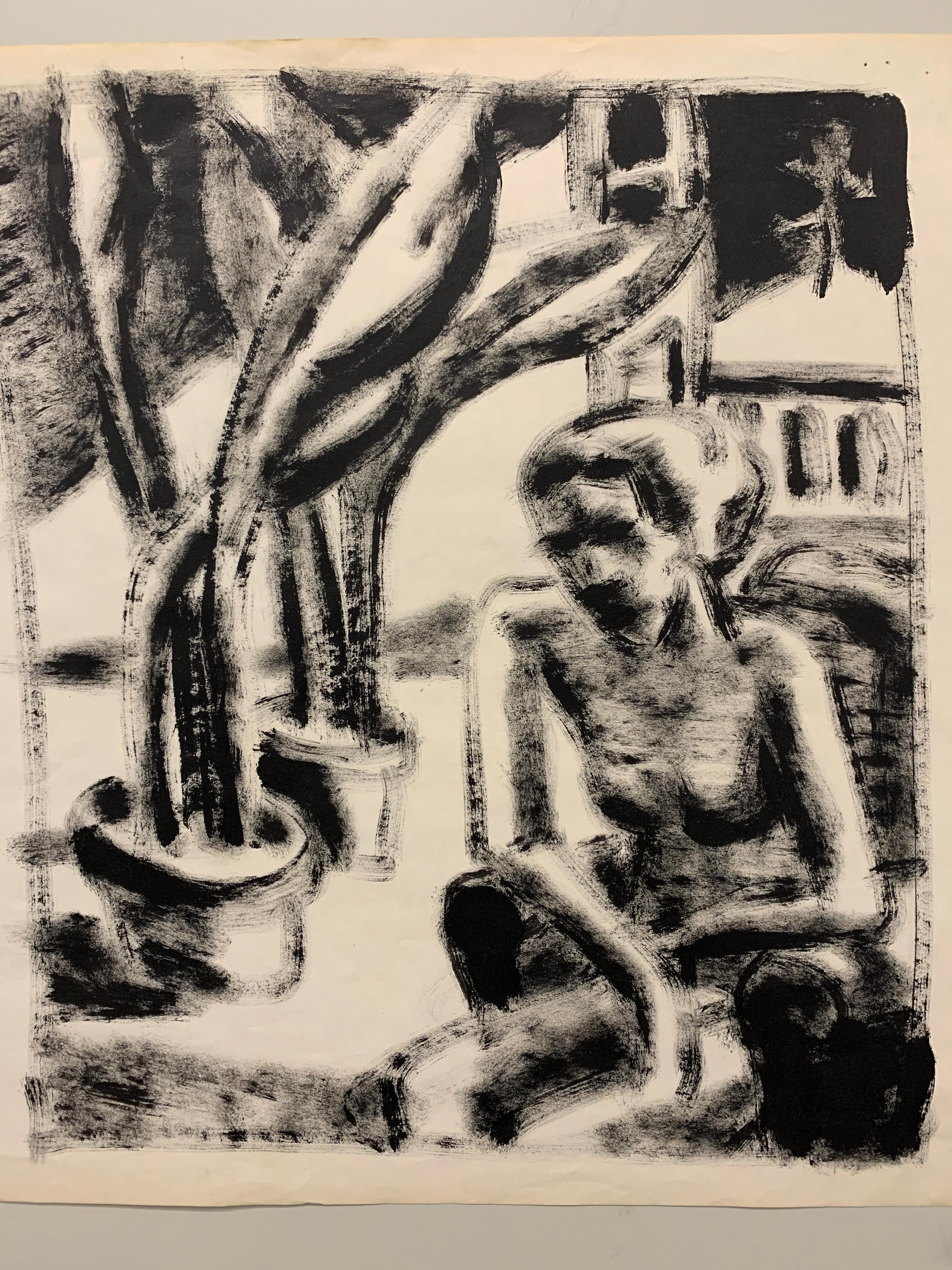 """""""Nude In Park"""" 1950s Modern Art Painting The Arts Students League NYC"""