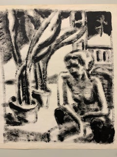 """Nude In Park"" 1950s Modern Art Painting The Arts Students League NYC"