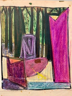 """1950s """"Forest Through the Window"""" Pastel Art Students League NYC Artist"""