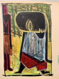 """1950s """"Mark"""" Pastel and Gouache Drawing NYC Museum of Modern Art"""