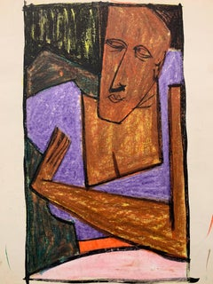 """1950s """"Stay There"""" Pastel and Gouache Drawing NYC Museum of Modern Art"""