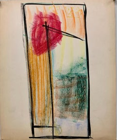 """1950s """"Red Sun"""" Pastel and Gouache Drawing Mid Century  NYC Artist"""