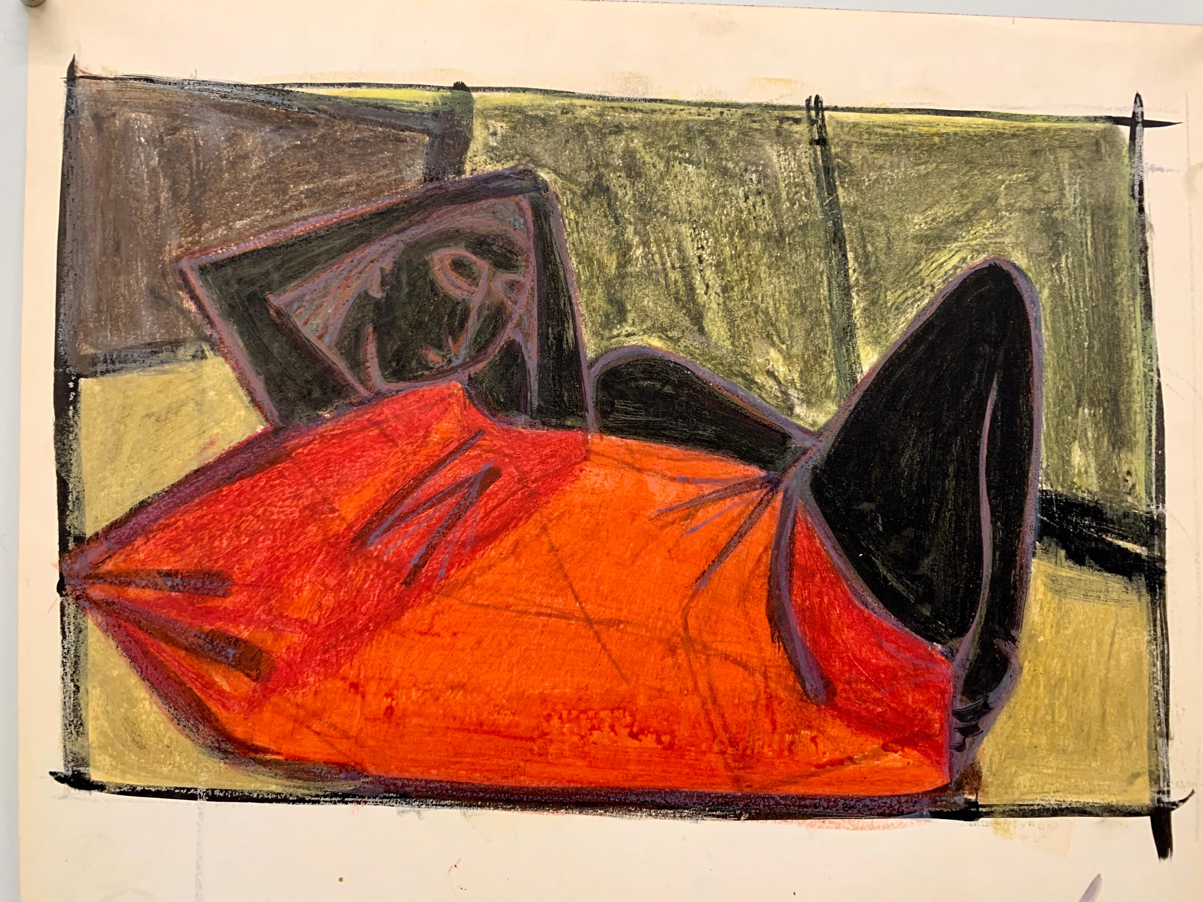 """1950s """"Red Blanket"""" Pastel and Gouache Drawing Mid Century NYC"""