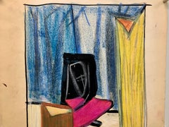 """1950s """"Sorrow"""" Pastel and Gouache Drawing The Art Students League NYC"""