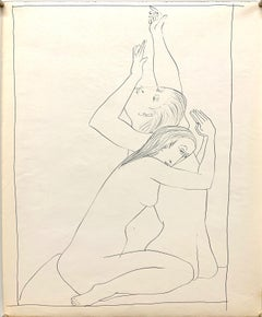 """1950s """"Reaching and Praying"""" Modernist Figurative Ink Line Drawing NYC Artist"""