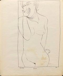 "1951 ""Joke"" Modernist Figurative Female Nude Ink Line Drawing NYC Artist"