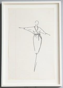 Ink Sketch by Iconic Fashion Designer Halston