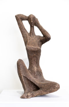 """""""Contemplation"""" Abstract Seated Figure, Clay, Brown Glaze, Mid-Century Modern"""
