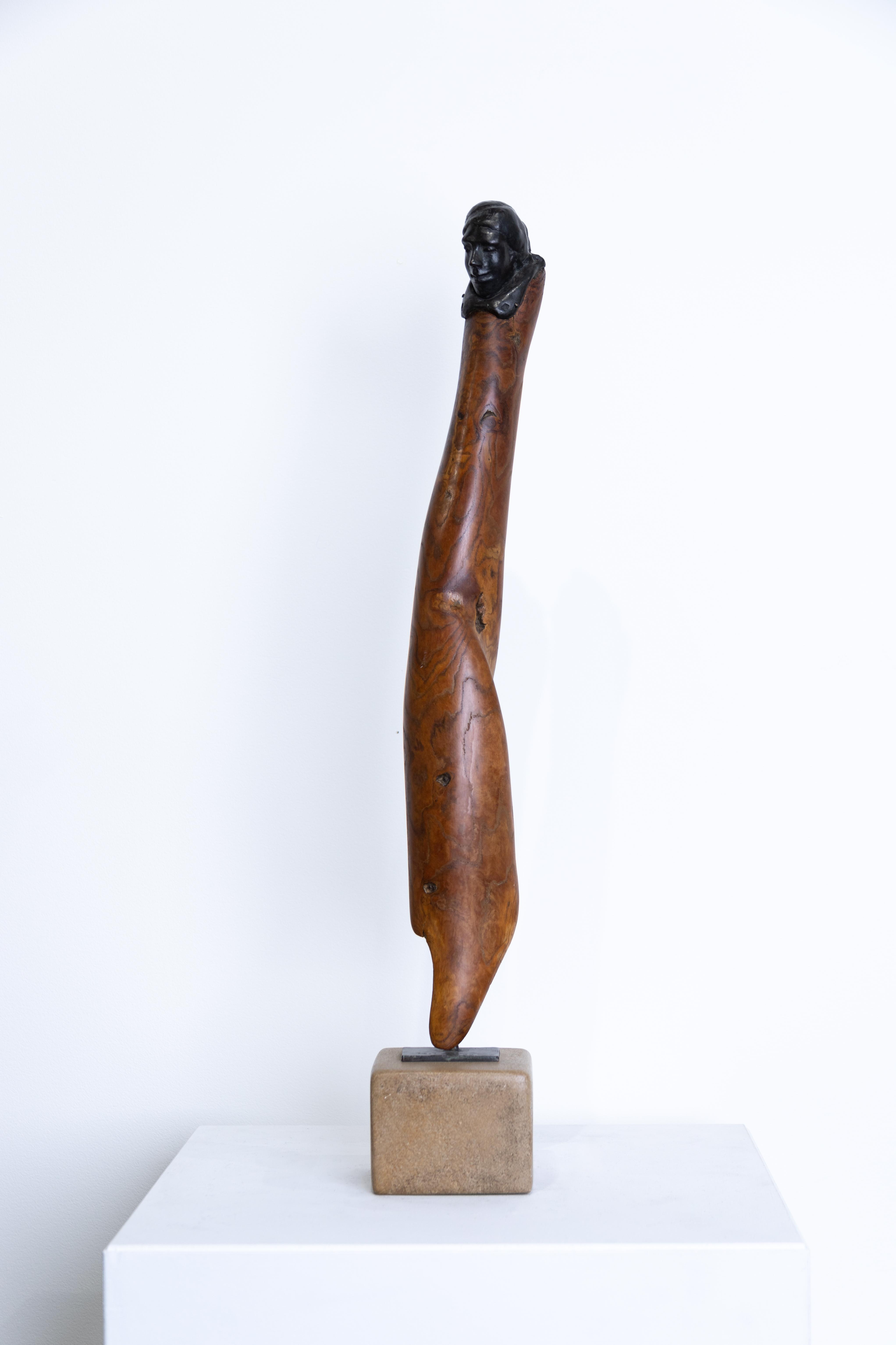"""""""Draped Figure"""" Sassafras & Bronze, Figurative Sculpture, 1982"""