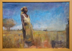 """Somalia"" Figurative, Landscape, Monumental, Yellows, Blues, Oil, Canvas"