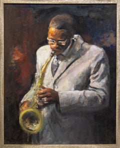 """""""Sax"""" Musician Playing Sax, Figurative, White Suit, Oil, Canvas"""