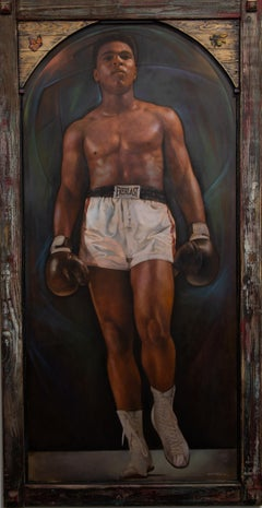 """Ali"" Portrait, Frontal, Monumental, Sculpted Butterfly & Bee, Colors, Oil"