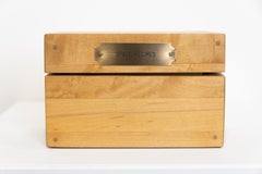 """""""Space Recipes"""" Velvet Lined Maple Box, 5 Metal Plates, One Wood Carving"""