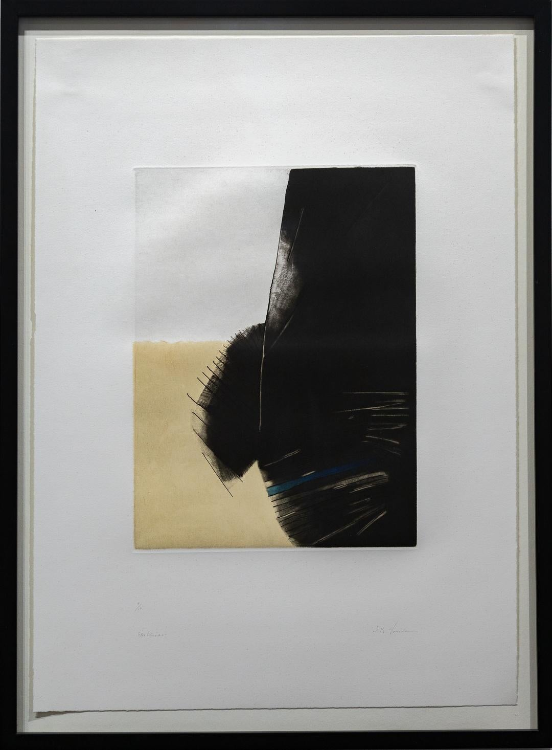 """""""Abstract in Gold and Black"""" Work on Paper, Print, Signed and Numbered"""