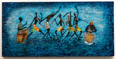 """Rhythm"" Mixed Media, Acrylic, Colors, African-American, Figurative"