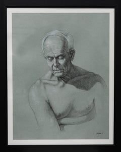 """Portrait Study"" Graphite, Charcoal, Nude, Male, Portrait, Framed"