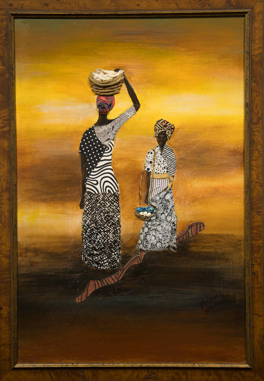 """""""Going 'N Coming"""" Mixed Media, Colorful, African-American, Figurative, Symbolic"""