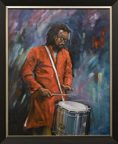 """""""Drummer in Red"""" Lone Figure, Male Drummer, Instrument, Colors, Acrylic"""