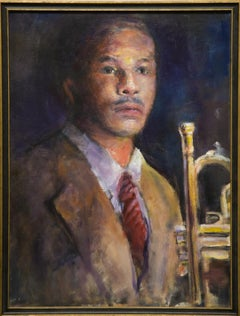 """""""Nola Jazzman"""" Musician, Male Figure, Trumpet, Portrait, Colors"""