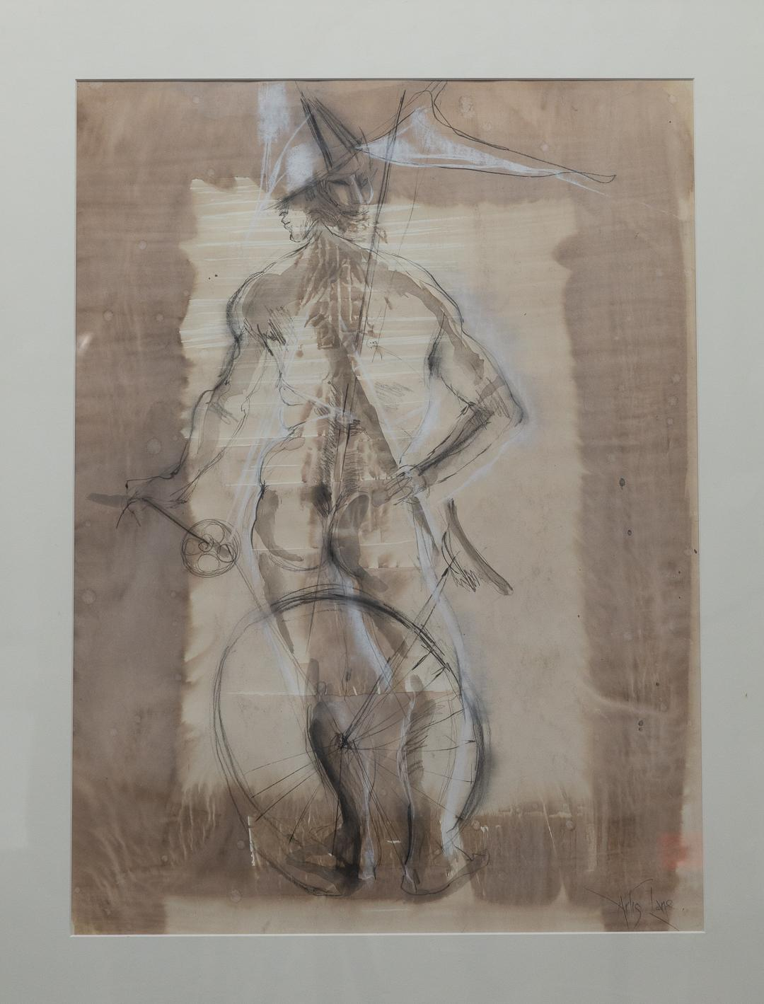 """""""Man with Bicycle"""" Male Nude, Back View, Watercolors, Black and White"""