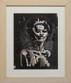 """Female Portrait"" Female, Black Paper, White & Pale Orange, Side Glance"