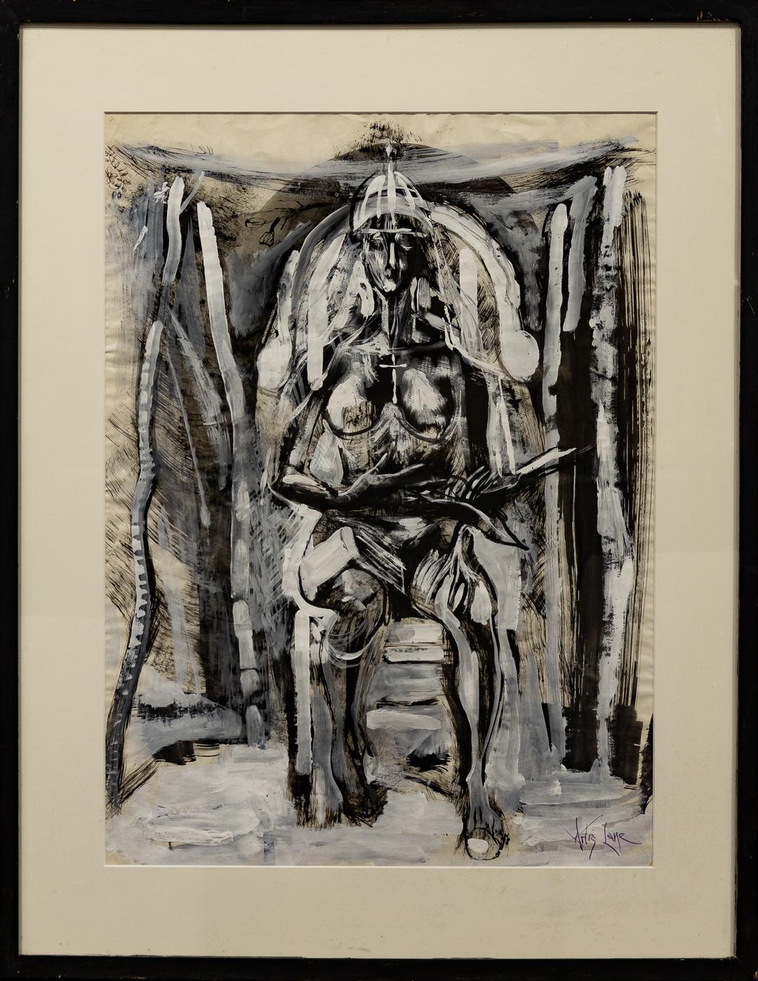 """""""Nude on Throne"""" Female, Frontal, Symbolism, Black & White, Abstract"""