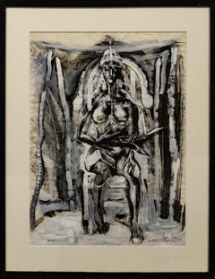 """Nude on Throne"" Female, Frontal, Symbolism, Black & White, Abstract"