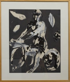 """Seated Man on Motorcycle"" Mixed Media, Abstract, Duo-Toned, Nude, Primitive"