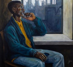 """""""Waiting for the Call"""" Acrylic, Mood Study, African-American, Figurative, Colors"""