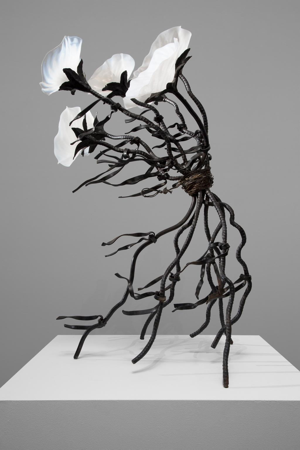 """""""Windswept"""" Blown Glass, Steel, Abstract, Flowers, Free Standing Sculpture"""