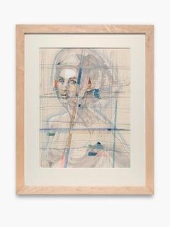 """Spiritual Self-Portrait"" Watercolor, Ink, Portrait, Nude, Linear Grid, Colors"