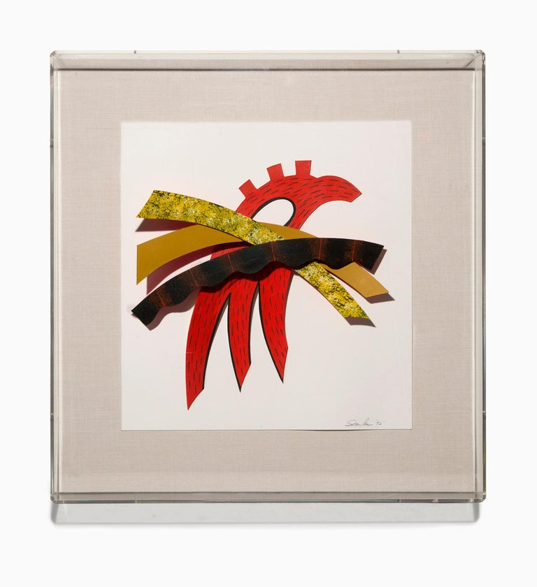 """Charles Searles Abstract Painting - """"Red Tail"""" Abstract, Painted Paper Under Plexiglass, Bright Colors, Signed"""