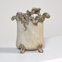 """Stoneware Vessel"" Cream Glaze with Organic Decorations, Signed"