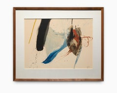 Mid Century Abstract Watercolor with Splatter of Blue Tones, Red Tones & Black
